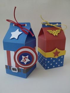 Caixa Milk Herois Wonder Woman Party, Advent, Milk Box, Avengers Birthday, Kids Boxing, Diy Party, First Birthdays, Crafts For Kids, Gifts