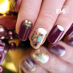 #EmiManicure in an oriental style will astonish the most experienced fashionista  To repeat this design, please take E.MiLac Crushed Violets #079, Charmicon Stickers Lunula Mix #6, Chain #2, Naildress Slider Design Gold Cloth, Gemty Gel Turquoise   To buy Gemty Gel please head over to http://emischool.com/catalog/#gemty_gel or at the representatives in your region   #EmiManicure в восточном стиле поразит самых искушенных модниц  Чтобы повторить этот дизайн, возьмите E.MiLac 079 «Сухие
