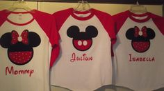 Disney Mickey Mouse and Minnie Mouse Applique Raglan T-Shirts by creationsbyJeanne, $19.00