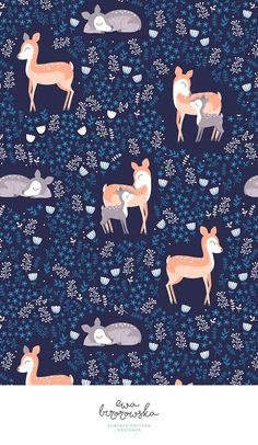 Love you Deer - cute woodland textile pattern design with deer and little does and tiny floral around. Available on Spoonflower. Add a pop of pattern with unique fabric, wallpaper & gift wrap. Shop over designs Textile Pattern Design, Surface Pattern Design, Textile Patterns, Floral Patterns, Star Quilt Patterns, Kids Patterns, Print Patterns, Cute Wallpapers, Wallpaper Backgrounds