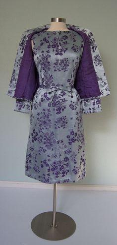 Beautiful 1960s Christian Dior // Bullocks Satin Damask Dress Suit // Luxurious Lavender Floral // Couture // Medium to Large