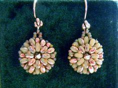Copper ivory and beige pinwheel beaded earrings by SuziVeeJewelry, $25.00