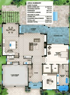 Florida House Plan with Big Upper Balconies - floor plan - Main Level Florida House Plans, Coastal House Plans, New House Plans, Dream House Plans, Florida Home, House Floor Plans, Home Design Floor Plans, Architectural Design House Plans, Architecture Design