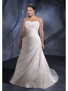 A-line Sweetheart Chapel Train Satin Bridal Gown