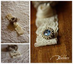 Blackburn Portrait Design Wedding and Portrait Photography www.susanblackburn.biz Wedding Detail Photos Ecru lace garter Antique blue brooch