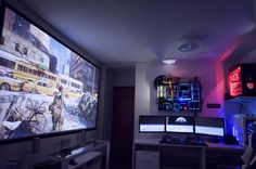 Ultimate Battlestation - Projector - Ideas of Projector - Transformers Workstation/Gaming PC 125 Inch screen Gaming Computer Desk, Gaming Room Setup, Pc Setup, Office Setup, Desk Setup, Gaming Rooms, Projector In Bedroom, Projector Setup, Gaming Projector