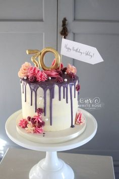 30 Marvelous Photo of Birthday Cake Design Birthday Cake Design Drippy Birthday Cake White Rose Cake Design 2 Soulasylum 30th Birthday Cake For Women, 26 Birthday Cake, Birthday Cake With Photo, Birthday Cakes For Adults, Elegant Birthday Cakes, Birthday Bunting, Rose Cake Design, 30 Cake, Drip Cakes