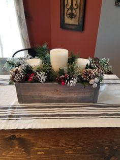 Small wood box- Christmas  centerpiece for coffee table