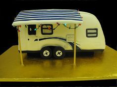 Camper cake with working christmas lights hanging around the awning. {See Great Prices on quality RV Tire Pressure Monitoring Systems Camper Van Cake, Caravan Cake, Camper Cakes, Pretty Cakes, Cute Cakes, Beautiful Cakes, Amazing Cakes, 40th Birthday Cakes, Birthday Cakes For Women