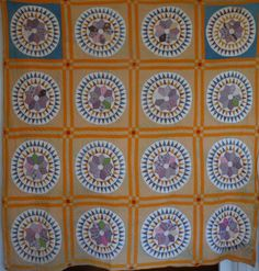 "Antique Sunburst Quilt - N. England colors, 1800's, 78 x 78"", signed M.A.C., Cow Hollow Collectibles, Ruby Lane"