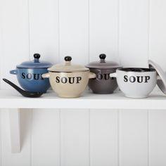 Glazed Ceramic Soup Bowl with Spoon