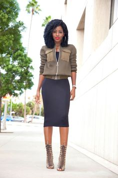 Khaki Bomber Jacket + Black Midi Dress + lace Up Heels