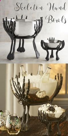 Cool Halloween home decor for party hosting! Skeleton hand bowls to hold candy for trick or treat night, or for holding food and drinks for Halloween parties! #skeleton #Halloween #decor #partydecor #partyideas #trickortreat #bowls #affiliate #halloweenpartydecor #halloweendecorating #halloweenhomedecor