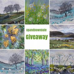 Hi, I am holding a Giveaway for two lucky people over on my UpandDownDale Instagram page. Why not pop over and enter for the chance to win a pack of 8 of my greeting card designs and two mini original hand felted and embroidered pictures. Mixed Media Artwork, Mixed Media Artists, West Coast Scotland, Free Motion Embroidery, Embroidery Stitches, Lone Tree, Wet Felting, Needle Felting, Winter Trees