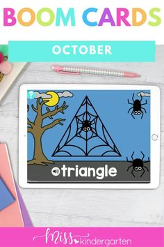 Students practice space in these spider themed October activities kindergarten. Students will practice shapes boom cards. These are part of a Kindergarten October Digital Center Bundle. Kindergarten Math Activities, Number Sense, Student, Shapes, Digital, Cards, Fun, Fin Fun, Playing Cards