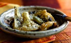 Recipe: Braised Greek artichoke bottoms with lemon and olive oil || Photo: Andrew Scrivani for The New York Times