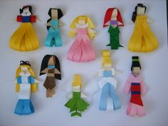 Las princesas: abstracción en cintas.... super ingenioso!!!ganchitos para pelo