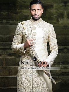 Pakistani Sherwani Dress For Men By HSY Studio Hassan Sheheryar Yasin Indian Groom Wear, Indian Wedding Wear, Pakistani Wedding Dresses, Punjabi Wedding, Indian Weddings, Sherwani Groom, Wedding Sherwani, Groom Wedding Dress, Wedding Suits