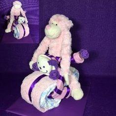 Luiertaart moter met slinger aapje roze