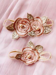 Wedding Garter Set Bridal Garter Set - Rose Embroidery Lace Garters - Keepsake Garter Toss Garter Belt Prom Garter Rustic Vintage Wedding