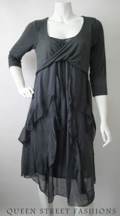 holiday lagenlook | ITALIAN SILK LAGENLOOK GRAPHITE GREY BOHO PARTY CHRISTMAS DRESS XL ...