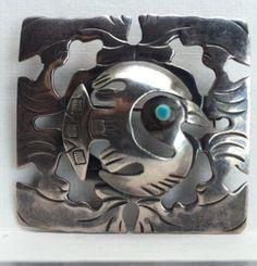 Vintage-1950s-Stamped-Old-Cuzco-Peru-Peruvian-Sterling-Silver-Enamel-Bird-Pin