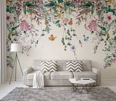 Colorful Flowers and Leaves Floral Wallpaper Bedroom Living Room Cafe Restaurant Mural Home Decor Wall Art Materials; Peel and Stick Vinyl or Non-Woven Embossed removable Wallpaper FEATURES: Wallpaper; Wall Decor, Wall Murals, Floral Wallpaper, Home Decor Wall Art, Mural Wallpaper, Room Wallpaper, Floral Wallpaper Bedroom, Home Decor, Leaf Wallpaper