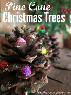 Pine Cone Christmas Tree Craft ~ great for building fine motor skills! | This Reading Mama