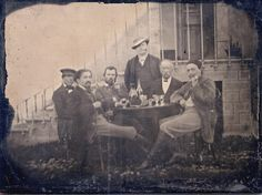 1887 melanotype showing Emile Bernard (second from the left), Vincent van Gogh (third from the left), André Antoine (standing at center), and Paul Gauguin (far right) in a group photo