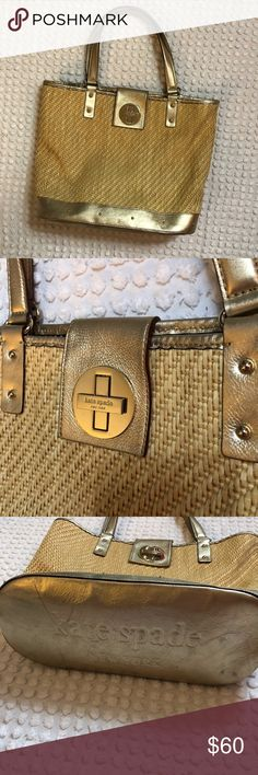 Kate spade gold and tan tote!!! Great tote!! Scratches shown on bottom of bag Inside is clean Little wear on metal  No other damage  One missing piece of hardware on back strap seen in photos kate spade Bags Totes