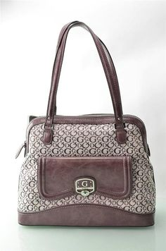 Womens Purse By Guess Handbag Noble Plum Signature Jacquard Tote Bag Satchel NWT #Guess #Satchel