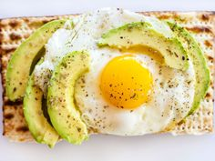 """Matzo Avocado """"Toast"""" with Egg : Toast half a sheet of matzo, then top with a fried egg, slices of avocado, herbs and salt for a healthy breakfast, anytime."""