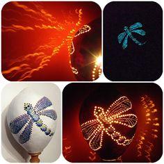 lámpa csipketökből gravírozással és foszforeszkáló festékkel