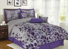 Purple Comforter Sets Queen | Details about 7Pcs Queen Fresca Purple and Gray Bedding Comforter Set