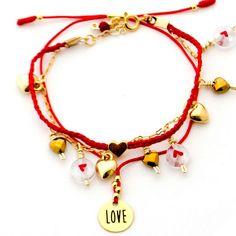 Pulsera Love Gold-filled Hilo Rojo