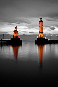Lighthouse and Bavarian Lion Sculpture, Lindau, Lindau, Bavaria, Germany.