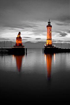 Lighthouse and Bavarian Lion Sculpture, Lindau, Lindau, Bavaria, Germany.