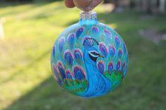 Glass Christmas Ornament Hand Painted Peacock by miniatureglass