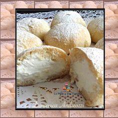 NUVOLE ALLA CREMA DI LATTE Ingredienti per 20 nuvole: Impasto: 125 g di farina 00 100 g di farina Manitoba 40 g di zucchero 40 g di burro