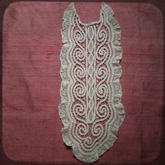 Antique French Lace white Jabot clothing costume accessory with embroidery - Vintage Fine Handmade Fashion from France