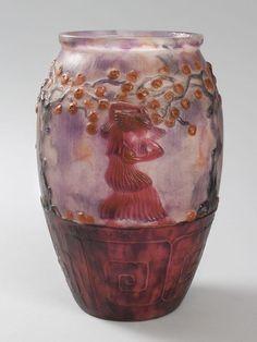 """Gabriel Argy-Rousseau (1885-1953), Pâte de verre, """"Apple Pickers"""" Vase."""