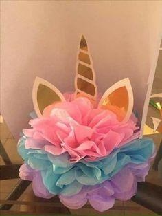 Unicorn decoration pom pom birthday party diy