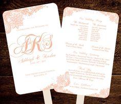 Rose Gold Wedding Fan Program Template Monogram Lace - Printable Instant…