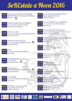 Iniziative del mese di giugno e luglio 2016 a Nova Milanese