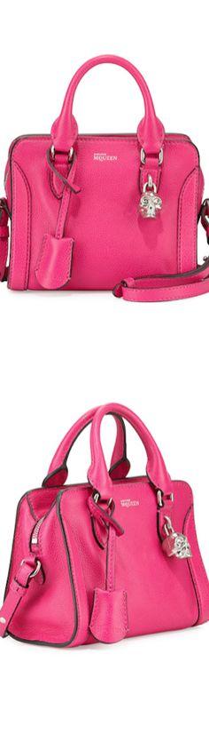 Alexander McQueen Mini Padlock Zip Satchel Bag, Pink bag, сумки модные брендовые, bags lovers, http://bags-lovers.livejournal