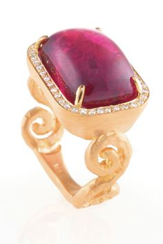 One-of-a-kind Ellie ring in 18k gold with an 11.23 ct. t.w. pink tourmaline cabochon and 0.20 ct. t.w. diamonds; $8,800; Pamela Froman
