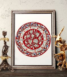 Vintage Claret Red Floral Iznik Plate Design Wall Art, Traditional Antique Ottoman Turkish Tile Watercolor Art Prints and Original Painting by HermesArts