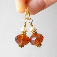Brown Crystal Bridesmaid Jewelry Crystal Earring by FiveLittleGems