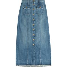 Current/Elliott Denim Midi Skirt ($280) ❤ liked on Polyvore featuring skirts, blue, button front a line skirt, a line skirt, button skirt, blue skirt and mid calf skirts