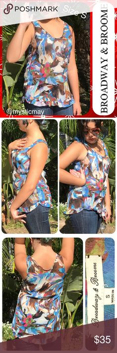 """Sheer Multicolor Abstract Print Chiffon Tank Top 💐New Poshers Welcome!💐 Beautiful sheer silk chiffon Tank Top from Broadway & Broome ( Madewell ) in a blue multicolor abstract print with lightly ruffled hem. Deep scoop neck and loose fit. Sheer but barely see-through when worn (as shown in pics). Size Small or 2/4. Measures 17"""" across the chest and 25"""" in length. A pretty top! Madewell Tops Tank Tops"""